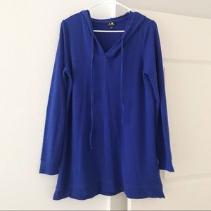 CABLE & GAUGE Blue Sweater Hoodie Long Tunic